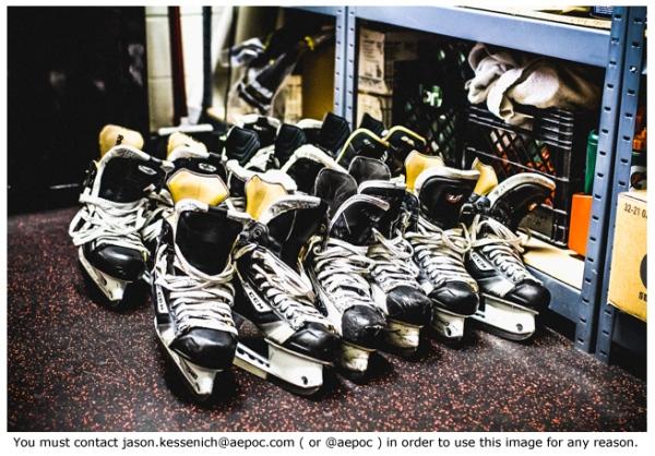 Skates waiting to be sharpened.